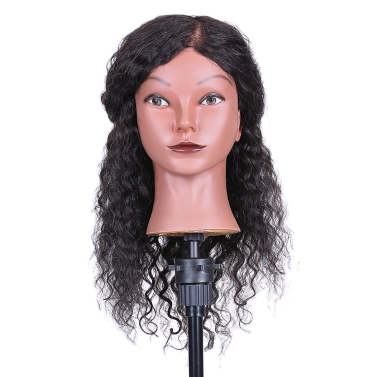 Curly Hair Mannequin Head Hairdressing Training Head for Hair Styling Practice Hair Braiding Dummy Head with 100% Human Hair Black