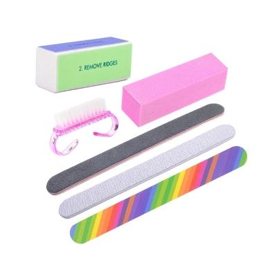 6 teile / los Nagel Maniküre Kit Pinsel Durable Polieren Grit Sand Fing Kunst Zubehör Schleifen Nagelfeilen UV Gelpoliermittel Werkzeuge Zufällige Farbe