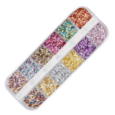 12 Grids / set Arcylic Nagel Glitter Set Staubpulver für Nail art Tip Dekoration Strass Maniküre Nail art Werkzeug