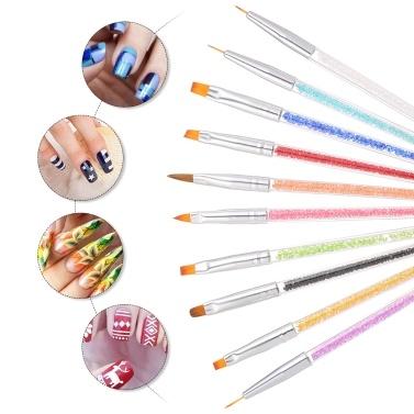 10 Stück Acryl Nagelbürsten Professionelle Nagelwerkzeuge UV Gel 3D Nail Art Design Malerei Zeichnung Liner Pen Set mit Acryl Strass Griff