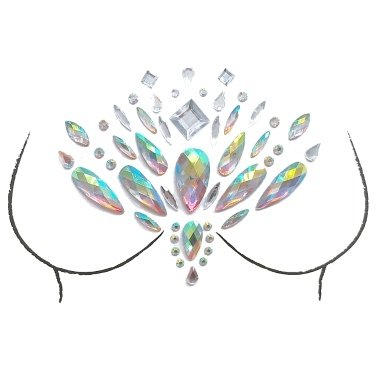 Big Classic Ceremony Breast Bling Gem Cluster Self Adhesive Stick On Jewels Body Paint Decor Rhinestone Temporary Tattoo Jewels Festival Party Glitter Stickers Easy To Operate