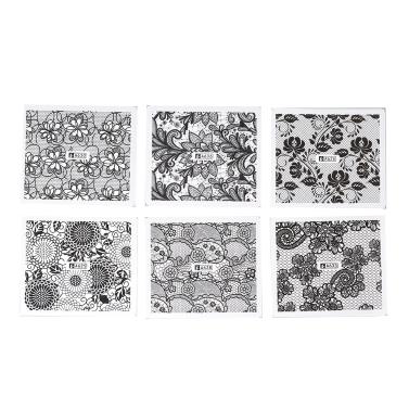 24pcs schwarzer Spitze-Nagel-Kunst-Aufkleber-Wasser-Übergangs-Nagel neigt Abziehbilder Blumen-Blatt-Maniküre-Werkzeuge