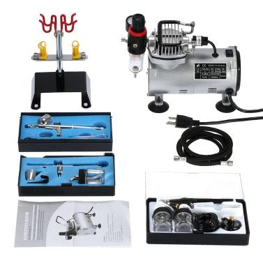 3 Airbrush & Kompressor-Kit Dual-Action-Spray-Luft-Bürsten-Satz-Tätowierung-Nagel-Kunst-Farben