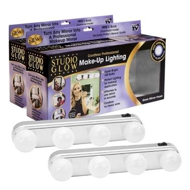 51% de rabais sur la lampe de maquillage portative Studio Glow 4 ampoules DEL pour éclairage d'appoint seulement 8,81 € sur tomtop.com + livraison gratuite