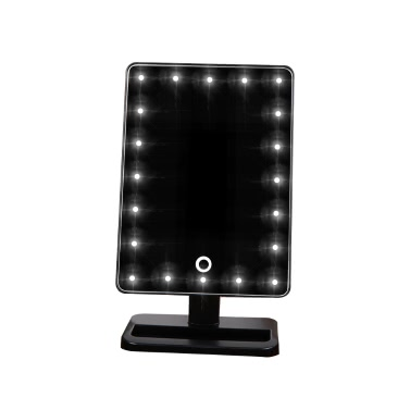 Qualitäts-Art- und Adjustable 20 LED-Licht-Dame-Girl Beauty Cosmetic Platz Vanity Desk Stand Make-up-Spiegel ABS Drehbare Touch Screen