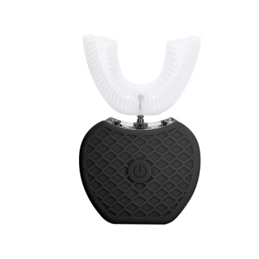 U-Form Ultraschall elektrische Zahnbürste mit 4 Modi Timer 360 Grad kabelloses Laden Mundzahnaufhellung Reinigung Wiederaufladbare Körperpflegegeräte (schwarz)