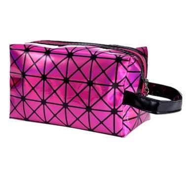 2018 neue modische geometrische Kosmetiktasche für Frauen leuchtende Verfassungs-Kasten-Damen-Reißverschluss-Kosmetik-Organisator-faltende Reise bilden Handtasche klassische 3D Diamant-Beschaffenheit Clutchbag