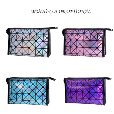 2018 New Fashionable Geometric Cosmetic Bag For Women Luminous Makeup Cases Ladies Zipper Cosmetics Organizer Folding Travel Make Up Handbag Classic 3D Diamond Texture Clutchbag