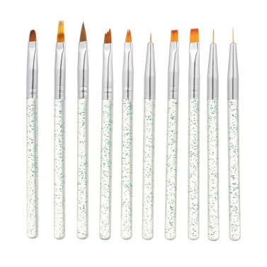 10 Stück / Set Nail Art Pinsel Malerei Zeichnung Pen Builder Flache Verlaufslinie UV-Gel Acryl Kristallspitzen Design Maniküre Werkzeuge