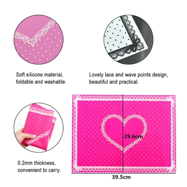 1 Set Silicone Hand Pillow & Table Mat Nail Art Cushion Holder Pad Washable Foldable Arm Rest Manicure Tool Rosy