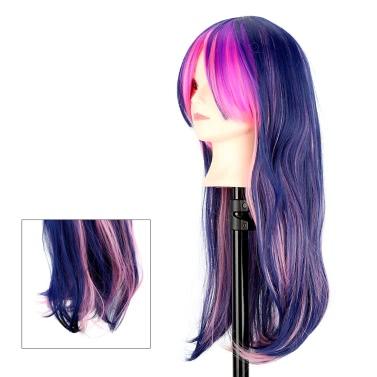 Buy Women's Full Wigs Long Curly Wavy Cosplay Hair Wig Gradient Color Drift Harajuku
