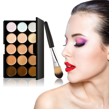15 Color Cream Camouflage Concealers Palette Eye Face Cosmetic Makeup Wooden Makeup Brush Concealer Dual Set