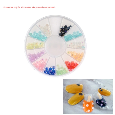 Buy 3D Nail Art Tips Mixed colors Gems Crystal Glitter Rhinestone DIY Decoration + Wheel