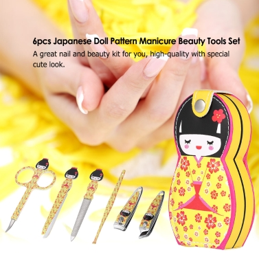 6pcs Japanese Doll Pattern Manicure Beauty Tools Set Stainless Steel Leather Pouch Case