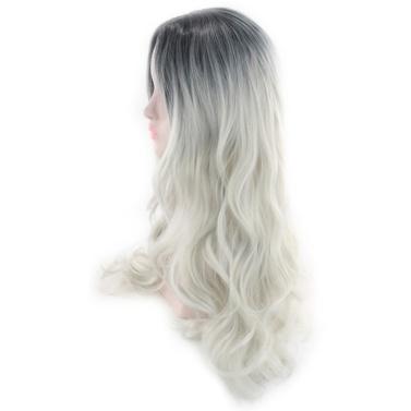 Frauen-Frisur-Farbverlaufs-Welle kräuselt langes lockiges Haar-Perücke