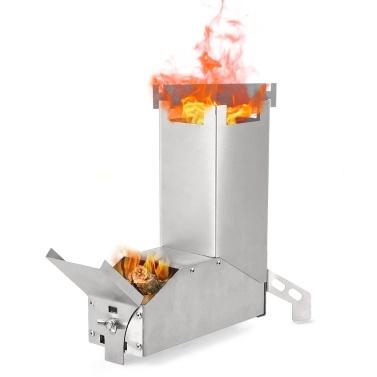 Fogão de foguete de aço inoxidável de queima de madeira dobrável ao ar livre