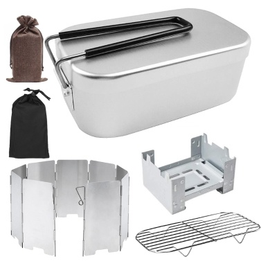 Mini Folding Stove Lunch Box Folding Windshield Steaming Rack Combo Set for Picnic Camping Hiking Fishing Mountaineering
