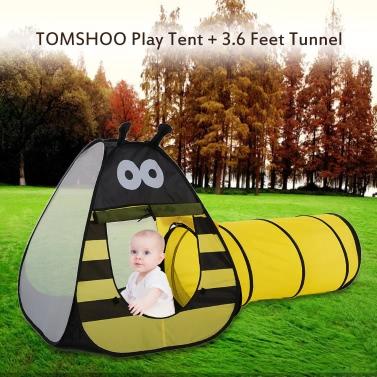 TOMSHOO Tragbare Kinder Kinder Bee-Spiel-Zelt im Freien Garten-Klapp Spielzeug-Zelt Pop Up Baby im Freien Haus + 3,6 Feet Tunnel