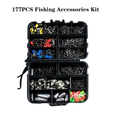 177PCS Fishing Accessories Kit Set with Tackle Box Including Swivel Slides Ball Bearing Rolling Snap Barrel Jig Hook