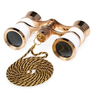 3x25 Opera Glasses Lens Retro Metal Body Mini Theater Binoculars