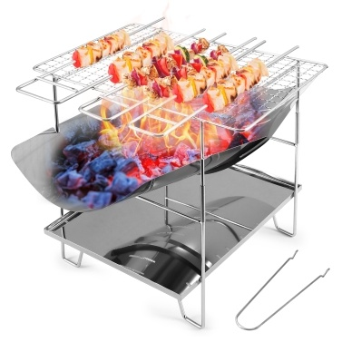 Folding Barbecue Grill Camp Grill Mini Grill Outdoor Stainless Steel Firewood Stand Portable Charcoal Camping Stove Picnic Tool For Home Park   Kitcken BBQ Use