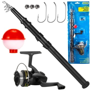 Fishing Rod and Reel Combo 9pcs Fishing Tackle Set Telescopic Fishing Rod Pole with Spinning Reel Float Hooks Split Shots Fishing Accessories