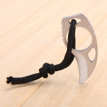 Outdoor Camping Carabiner Survival Finger Claw Knife Hook Fixed Ring Card EDC Tool Mini Pocket Knife with Leather Sheath