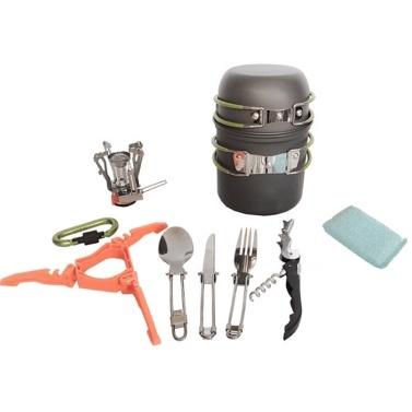 超軽量ポータブルキャンプアウトドアポットパンセットハイキングピクニックバックパック食器調理器具キットクッキングボウルポットパンミニガスストーブ鍋ストックポットセット