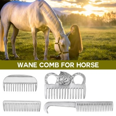Aluminum Alloy Horse Comb Mane Tail Pulling Comb Metal Horse Grooming Tool 6.5IN / 3.9IN / 3.5IN / 3.2IN