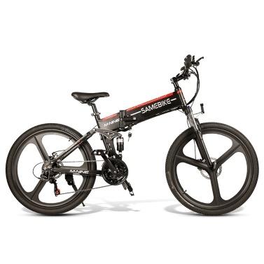 Samebike LO26-BKNEW bicicleta elétrica dobrável de 26 polegadas 10AH 350W