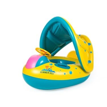 Tragbarer aufblasbarer Kreis Baby-Schwimmsitz Kinder-Schwimmkreis mit Sonnenschutz-Sitzpoolzubehör