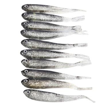 10PCS 8cm Vivid Natural Gray Fake Fish Lure Bait Small Bass Catfish Lure Fish Bait