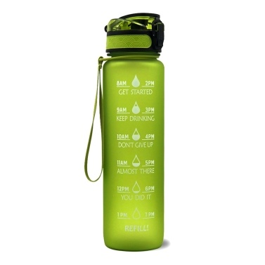Sports Water Bottle with Time Marker BPA Free & Leak proof Portable Reusable Drinking Kettle  Fitness Sport 1L Water Jug for Men   Women Kids Student to Camping Office School Gym Workout
