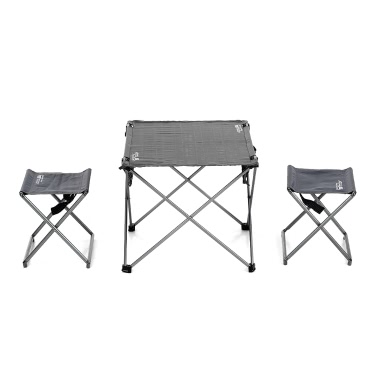 Outdoor Foldable Camping Picnic Tables Portable Compact Lightweight Folding Roll-up Table with 2 Folding Chairs Stools for Travel Beach Picnic Party