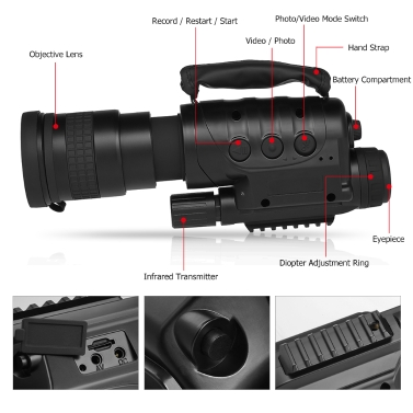 Digital Night Vision Monocular Telescope Infrared Device Photo Video Recorder for Camping Hiking Travel Hunting