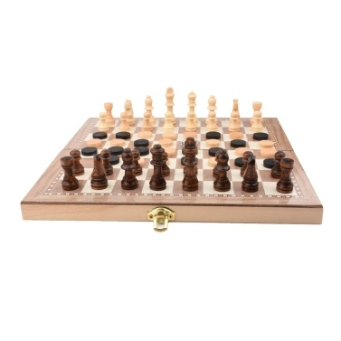 Folding Wooden Three-in-one Suit Chess Board Solid Wood Chess Checkers Suit Gomoku Suit Chess Set