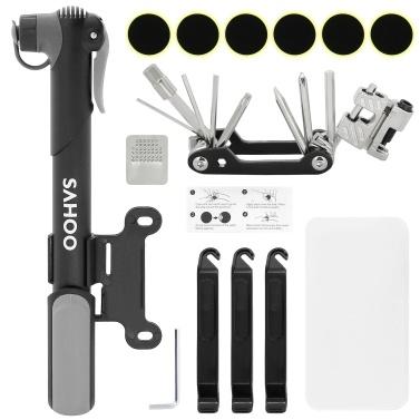 Portable Mountain Bike Repair Tools Kit Tire Repair Set for Multipurpose Emergency Mini Bike Pump Bike Maintenance Tool