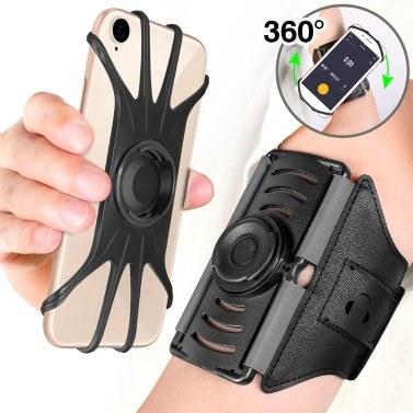360度回転アームバンド取り外し可能スポーツアームバッグ携帯電話ホルダー用4.0-6.5インチ携帯電話用ウォーキングジョギングランニングハイキングサイクリング