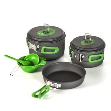 10個の屋外ポット鍋キャンプ調理調理器具セットキット