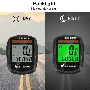 Solar Powered Bike Computer Wireless Waterproof Bicycle Speedometer Odometer Automatic Wake-up Bicycle Computer