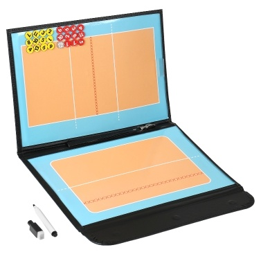 Foldable Volleyball Magnetic Tactic Board Coaching Strategy Board with Marker Pieces and 2-in-1 Pen