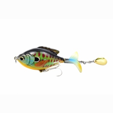 LIXADA 3.7in / 0.60oz Topwater Wobbler Bait Lifelike Gold Fish Artificial Crankbait with Rotation Tail Hard S Swimming Action Fishing Lure Soft Rotating Tail Floating Bait VIB Bait Crankbait 3D Eyes  Bionic Fishing Lures Hook with Treble Hooks Tackle