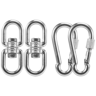 2 Pack Antirust Stainless Steel Swivel Ring Double Ended Swivel Eye Hook M8 Carabiner Hanging Hammock Hanging Accessory Rotating Device