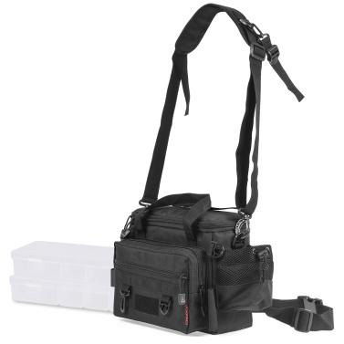 Waterproof Fishing Tackle Bag with 2 Tackle Boxes Trays Large Capacity Multifunctional Lure Fishing Storage Bag Shoulder Bag Waist Bag