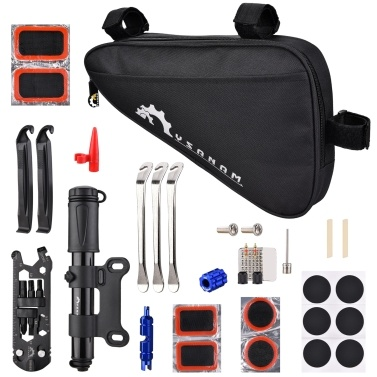 Bike Repair Kit Portable Bicycle Repairing Tools Kit Tire Fixing Kit Bag with Tire Pump   Multifunctional Tools Tire Tube Patches Cycling Tool Set