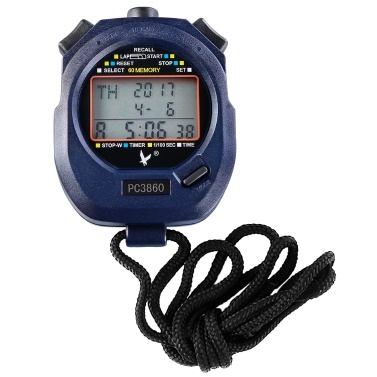 Three Rows 60 Memories Handed Sport Stopwatch with Countdown Alarm Pacer Time Temperature Display