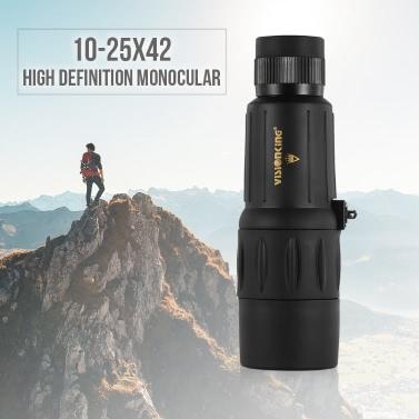"Visionking 10-25X42 High Definition Waterproof Monocular Telescope Outdoor Portable Compact Monocular Scope 20"" Close Focus"