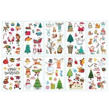 1 Blatt Körper dekorative Label Frohe Weihnachten Weihnachtsmann Muster T-attoo Aufkleber für Party