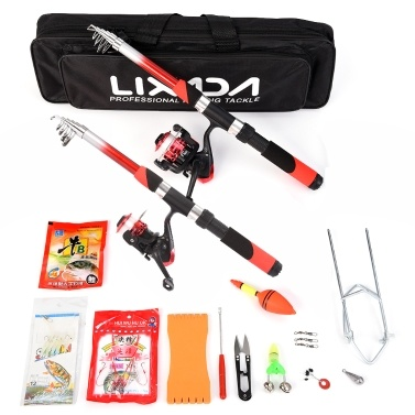 Lixada Fishing Rod Reel Combo Full Kit with 2PCS 2.1m Telescopic Fishing Rods 2PCS Spinning Reels Fishing Lures Hooks Accessories Fishing Bag