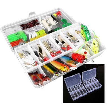 234pcs Fishing Tackle Set Fishing Minnow Popper Lures Baits Crankbait Jig Hooks Sinker Weight Barrel Swivels with Free Tackle Box